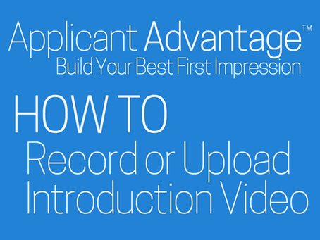 Record or Upload Introduction Video