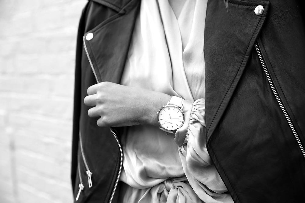 fashion, watch, leather jacket, silk dress, silk dress oufit, leather jacket outfit, gold watch, gold watch outfit