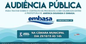 Audiência pública discutirá contrato da Embasa em América Dourada.