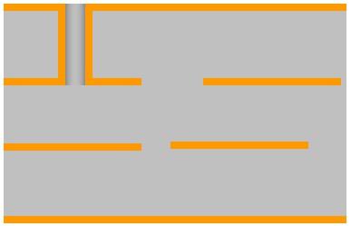 Пример сечения 4-хслойной печатной платы с несквозным отверстием между слоями 1 и 2.