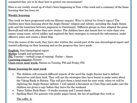 Year 4 Weekly Letter 13/11/20