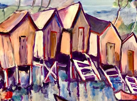 Mes élèves sont Formidables  _ Acrylique.   Cabanes en bord de plage. Peinture. Cours n°1