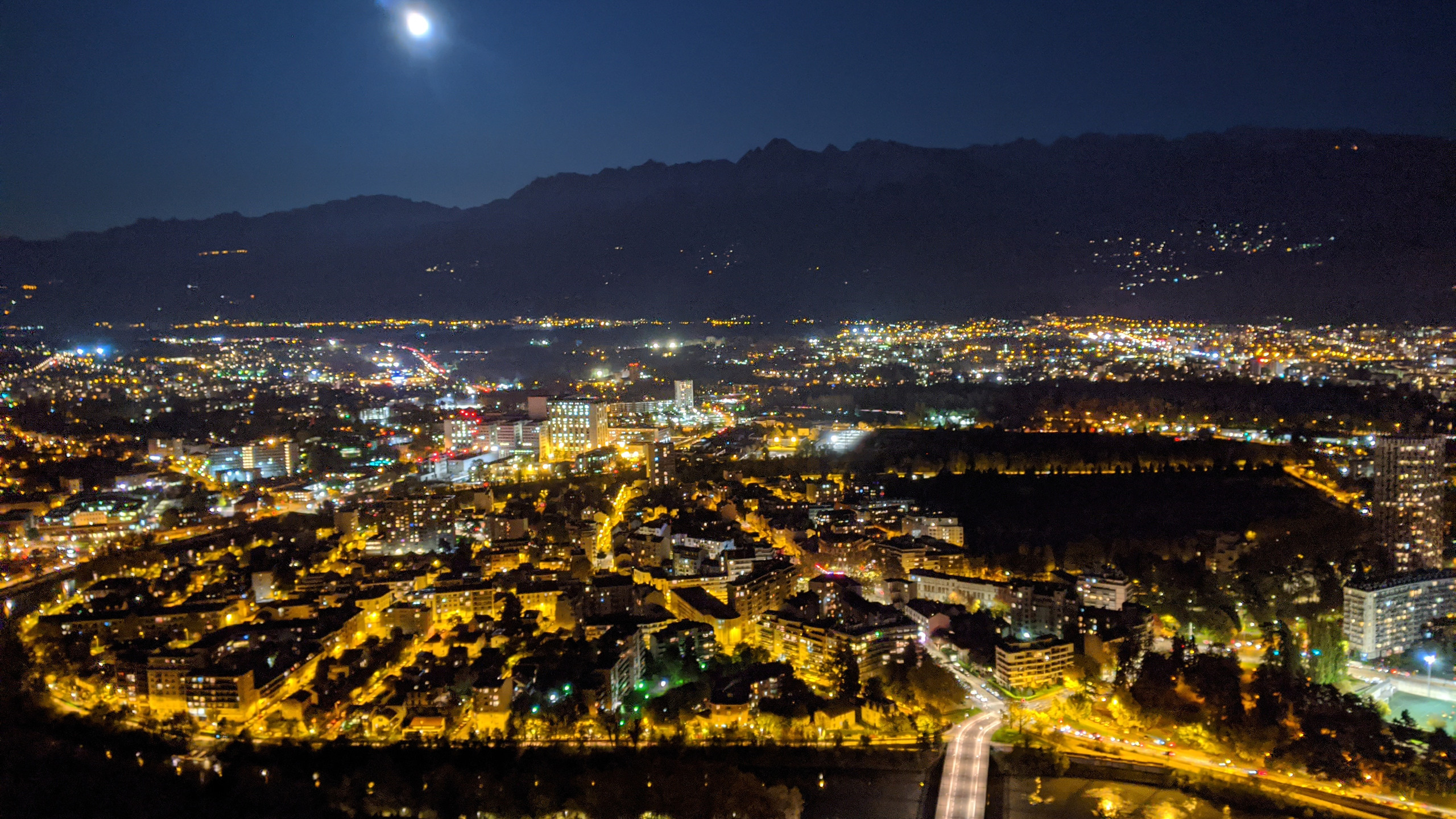 A view Grenoble city from the top of Bastille