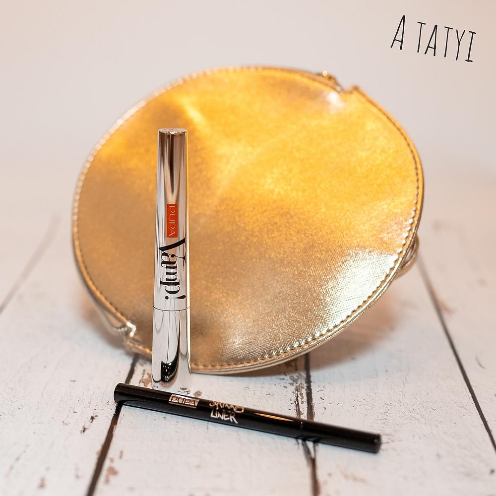 Vamp szempillaspirál, Skinny Liner ultravékony szemhéjtus, aranytáskában, limited edition csak idén karácsonyra a Pupa Milano-tól