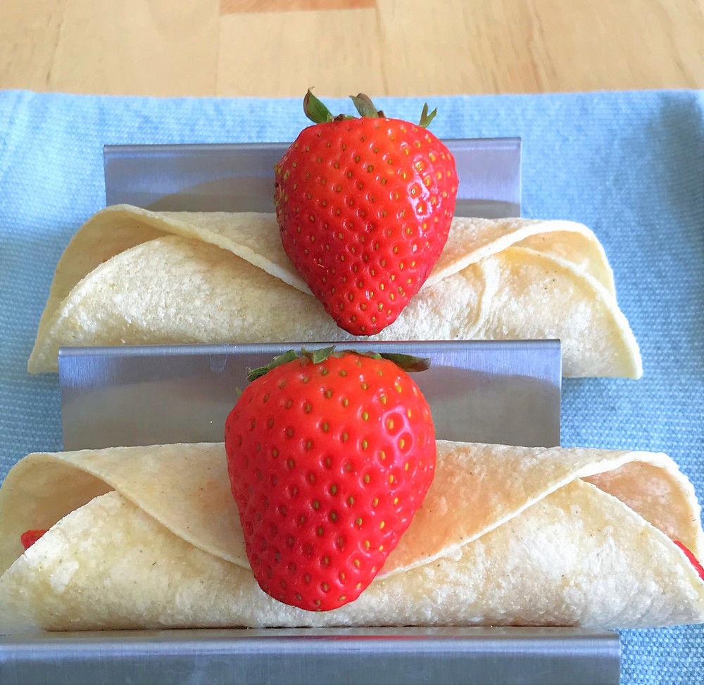 walnut butter tacos with strawberries