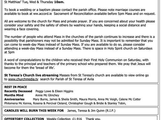 The St Teresa's Parish Bulletin for Sunday, 20th September 2020