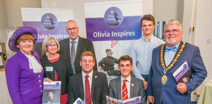 The Olivia Inspires launch event: (left to right) Sarah Le May, High Sheriff of Hampshire; Paula and Nigel Burt; Charlie McKeever; Lucas McCollum; Sam Whalley, British Sailing Team; Alan Glass, Chairman of New Forest District Council.