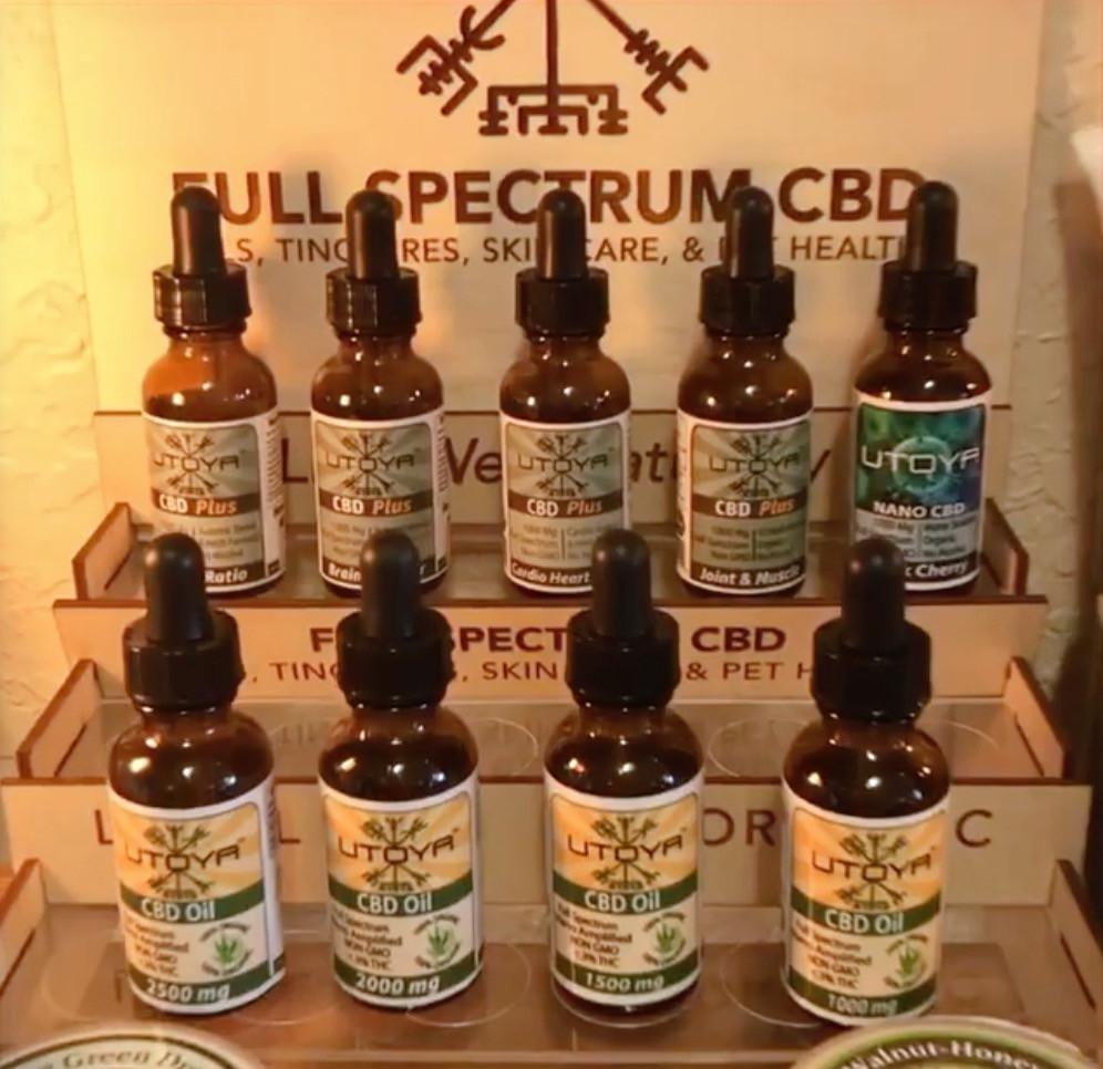 Utoya Organic CBD Products on display at The Merchant
