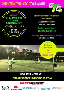 This is a flyer for the 1st CTC Adult tournament in 2019 at the I'On Tennis Club