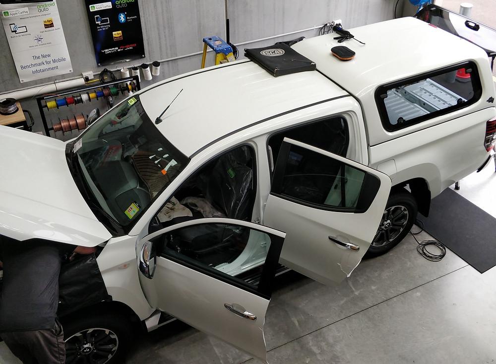 White 2020 Mitsubishi Triton GLX-R 4WD with canopy