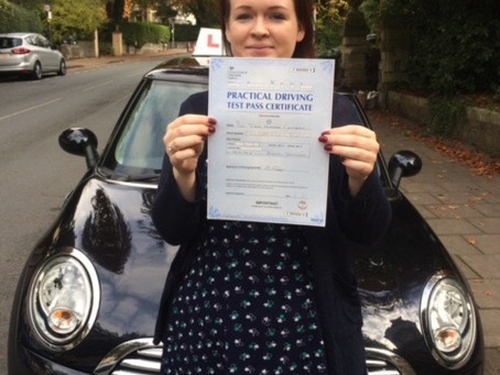 Congratulations Fern on passing your driving test so well.