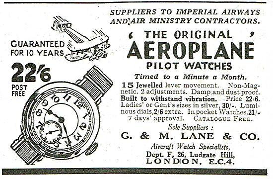 Aeroplane by G & M Lane Watch Advert from 1928
