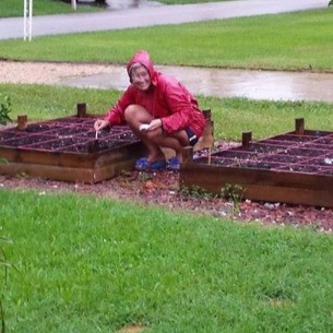 The author never lets a little inclement weather interrupt her gardening schedule.