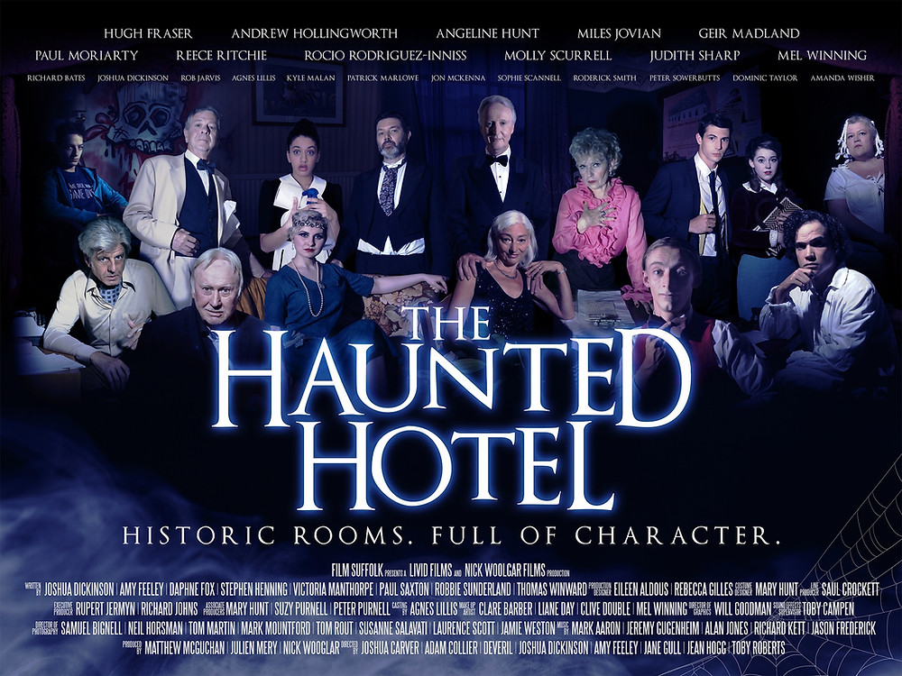 Poster of The Haunted Hotel - the title is foregrounded in the middle of the picture, and behind it the characters of each section of the film are posing. The names of the directors and writers are on top of the picture.