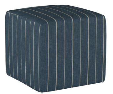 blue ottoman, striped ottoman, masculine home design, accent furniture, cube ottoman