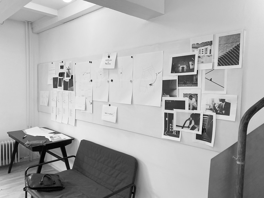 Picture of a moodboard in the office.