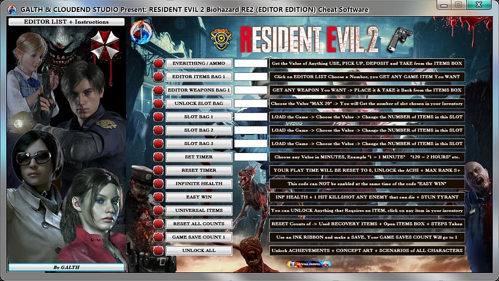 Resident Evil 2 Biohazard Re2, Editor Edition, Cheat, Software, Software, cloudend studio, galth, cheat, trainer, code, mod, software, steam, pc, youtube, tricks, engaños, トリック, 騙します, betrügen, trucchi, pokemon, dragon ball xenoverse, playerunknown's battlegrounds, fortnite, counter strike, ign, multiplayer.it, eurogamer, game source, final fantasy, dark souls, monster hunter, nintendo, ps4, ps5, xbox, nba, blizzard, world of warcraft, twich, facebook, windows, rocket league, gta, gta 5, gta 6, call of duty, gamesradar, metacritic, collector edition, anime, manga, fifa, pes, f1, game, instagram, twitter, streaming, cheat happens, One Piece, Naruto, One Piece World Seeker, 24/04/2019