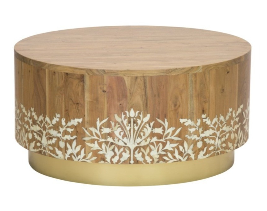 bone inlaid into mango wood and a brass-finished base coffee table from Selamat