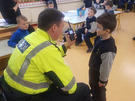 Garda Mick visited Senior infants. We interviewed him about his job.