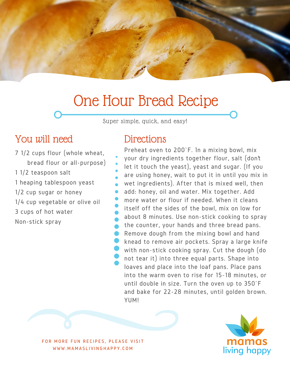 Mamas Living Happy One Hour Bread Recipe
