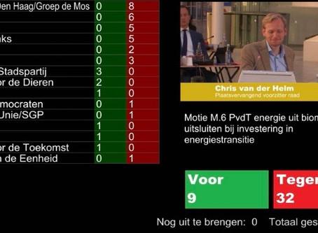 Motie PvdT tegen biomassa verworpen