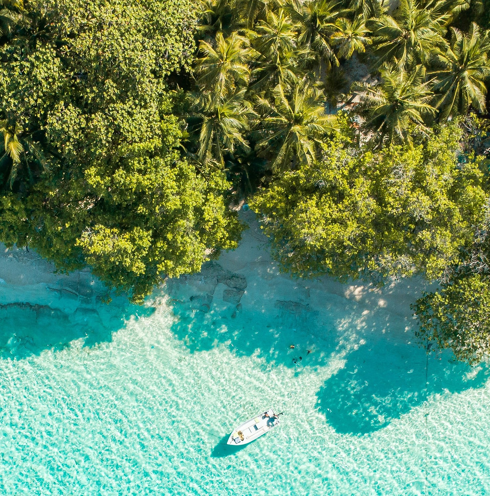 Blue sea in Caribbean isalnd