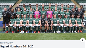 Plymouth Argyle - Pilgrims Squad Numbers 2019-2020