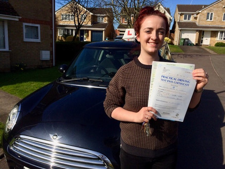 Congratulations Caitlin on passing your driving test so well with only a couple of minor faults.