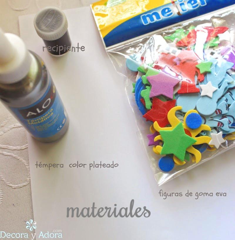 materiales hacer sellos para papeles de regalo