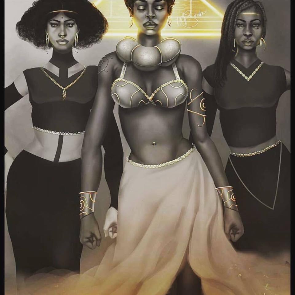 Black art of 3 black queens