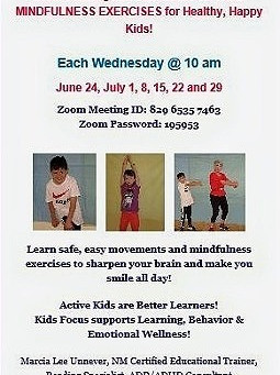 FREE Kids Focus Summer Workouts - Wednesdays at 10 am on ZOOM - June 24-July 29