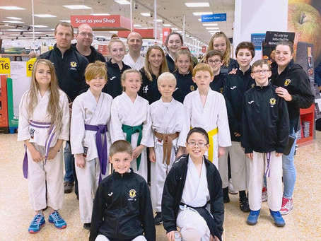 York Karate go bag packing at Tesco to raise funds