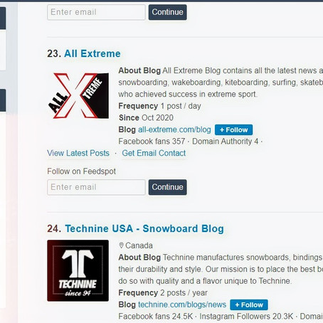 All Extreme selected in top 25 Snowboarding blogs by feedspot!