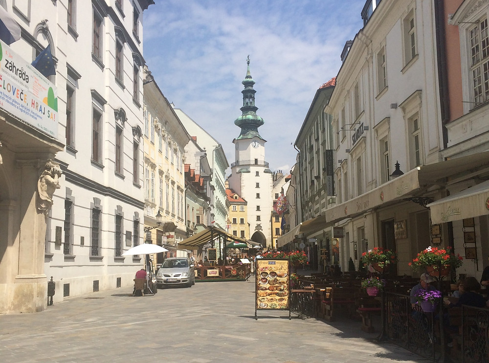 Old town street leading up to Michael's Gate in Bratislava Slovakia