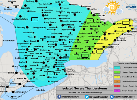 Severe Thunderstorm Threat Across Portions of Ontario and Quebec; Isolated Tornado Risk