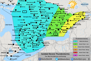 Thunderstorm Forecast, for Southern Ontario. Issued May 23rd, 2019.