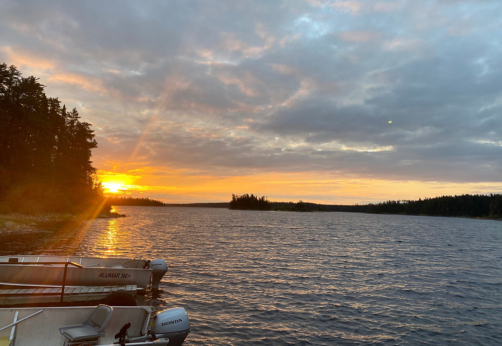 Sunrise over the lake on a fly in fishing trip in Northern Ontario, Canada