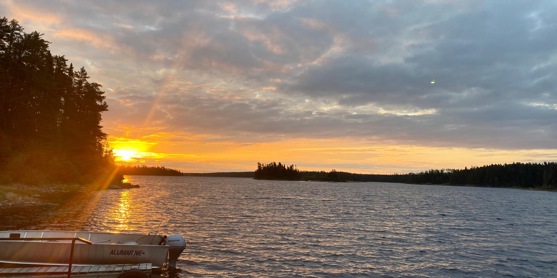 Sunrise at the Slate Falls Root Bay outpost on Lake St Joseph