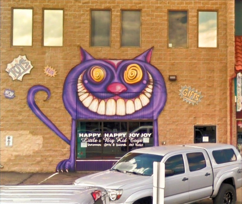 Purple Cat Smiling - Happy Happy Joy Joy Shop, Reno, Nevada