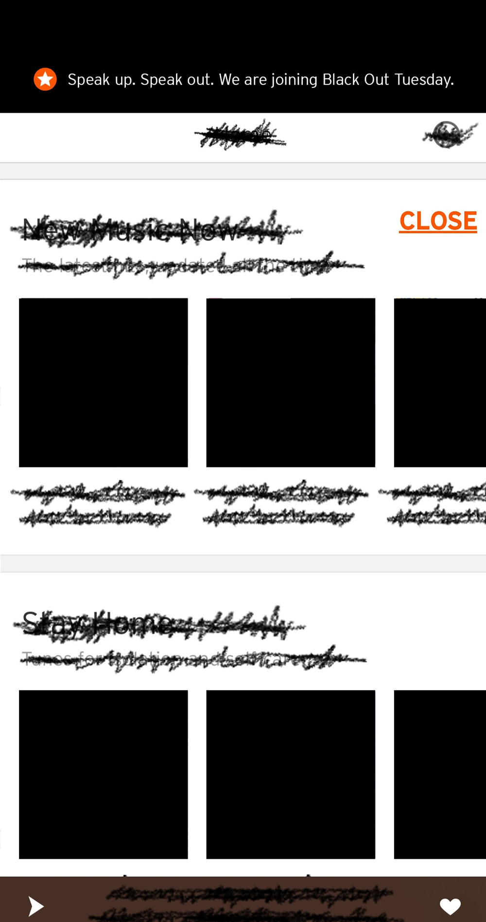 SoundCloud's app as it appeared in support of 'Blackout Tuesday' concept that is part of Black Lives Matter (Credit: SoundCloud).