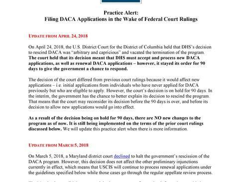 DACA Alert - No new filings yet.  Alerta DACA - todavia no aceptan nuevas aplicaciones