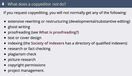 Image of text describing what a copyeditor does not do