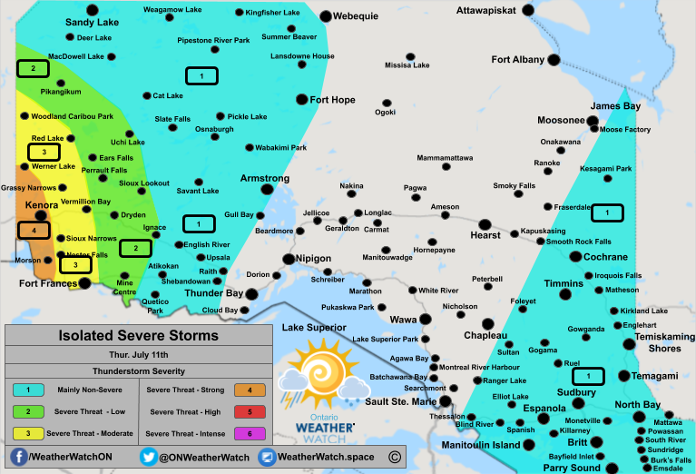UPDATED Thunderstorm Forecast, for Northern Ontario. Issued July 11th, 2019.