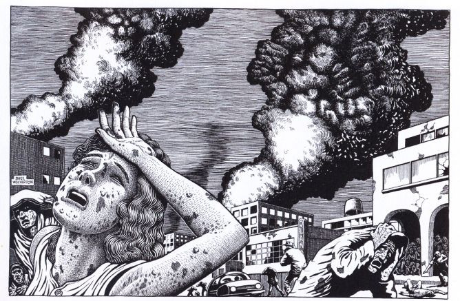 A horrific image of suffering and death illustrated by Basil Wolverton