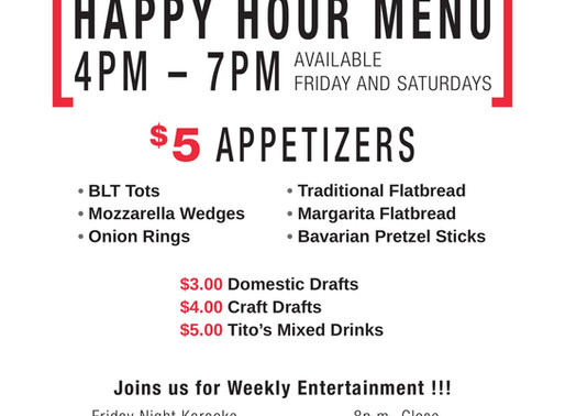 Join Us For Happy Hour!!!