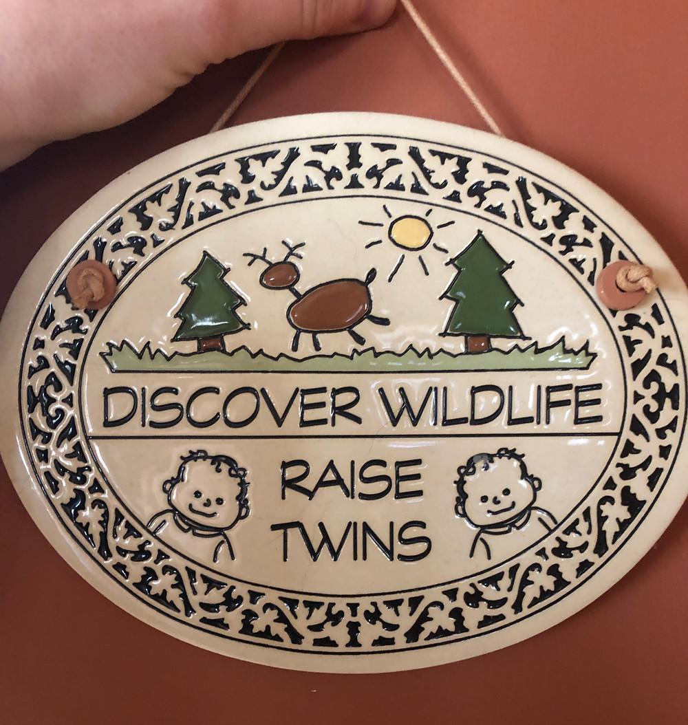 Discover wildlife raise twins plaque
