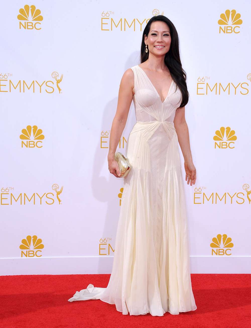 LOS ANGELES, CA - AUGUST 25, 2014: Lucy Liu at the 66th Primetime Emmy Awards at the Nokia Theatre L.A. Live downtown Los Angeles.