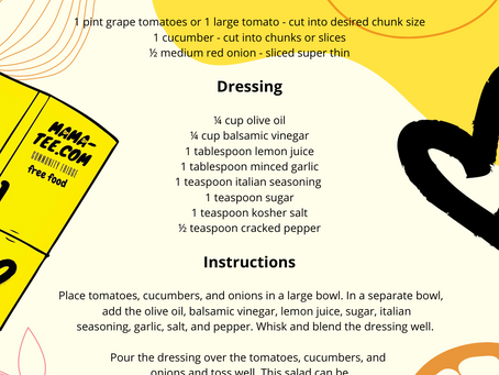 Welcome To The Mama Tee Blog:  Cucumber Tomato Salad  By Van Truong