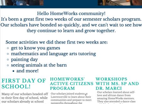 HomeWorks Semester Scholars: Weeks 1 and 2 recap!