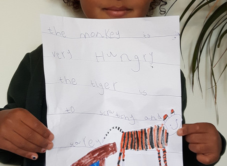 Emilie's fantastic writing about the monkey and the tiger. (RJP)